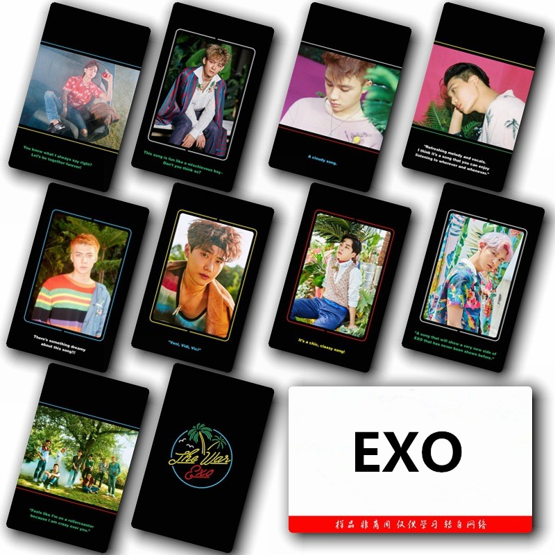 10Pcs KPOP EXO Special Crystal Card Sticker
