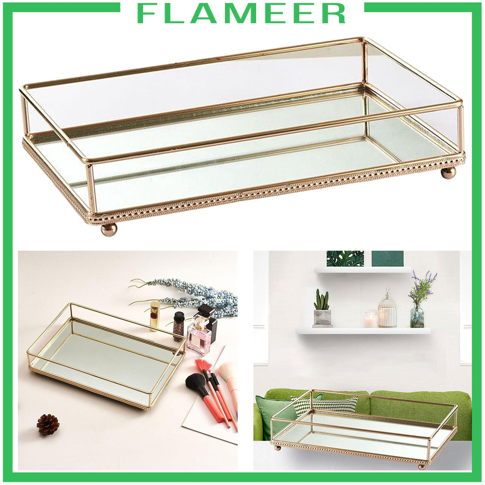 Flameer Mirror Glass Metal Antique Decorative Candle Plate Display Makeup Vanity Tray Shopee Philippines
