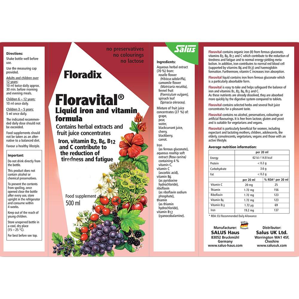 Floradix Formula Liquid Iron Herbal 500ml Shopee Philippines