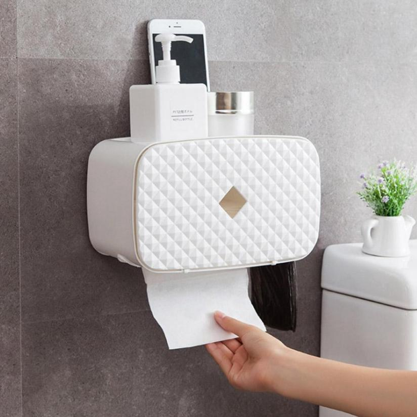 Wall Mounted Towel Holder with Storage Box Toilet Paper Rack Bathroom Organizer