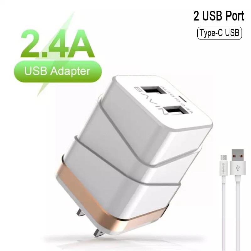 BAVIN 2 4A Universal Adapter 2 USB Port Fast Charger