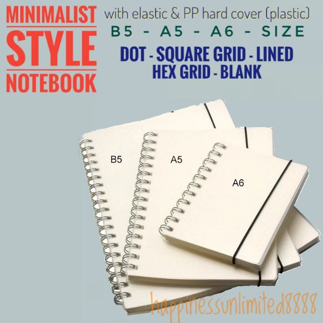 b64325c25d4c JAPANESE muji STYLE Notebook Lined Blank Grid Dot A5 A6 B5