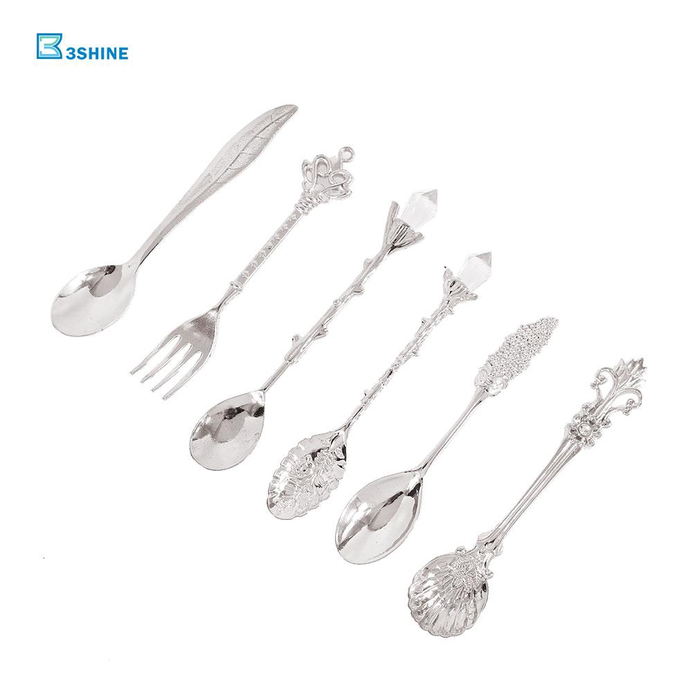 6pcs//Set Cutlery Retro Royal Style Metal Coffee Spoons Fork Kitchen Flatware Kit
