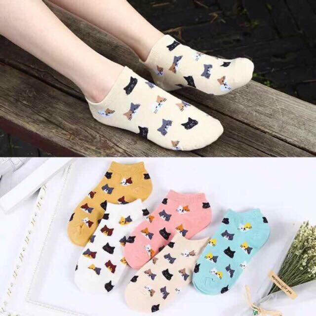 Cute Cats Gilrls Socks Ankle Socks 100% Cotton
