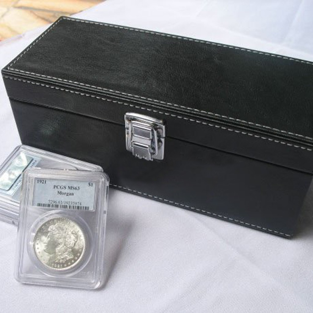 1 x New Storage Display Showcase Box For 5 PCGS Certified Slabs Coin Holder Red