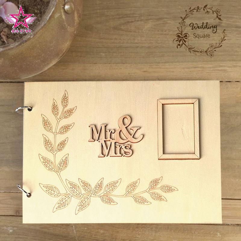 Creative Wedding Guest Book Diy Birthday Gift Signature Guest Books Personalised Wooden Photo Album