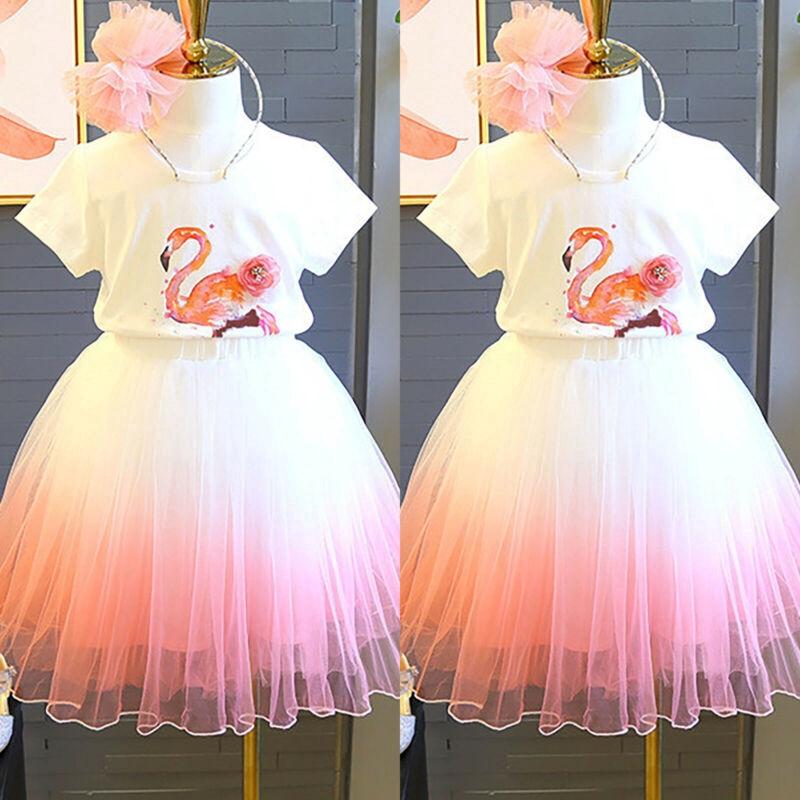 2Pcs Girls Unicorn T-shirt Holiday Birthday Dress Tutu Bubble Skirts Outfit Set