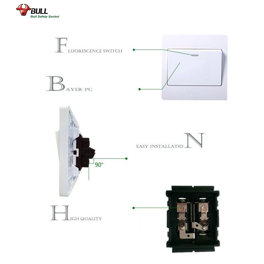 Bull G04k421y 4 Gang 1 Way Switch 13001381 Shopee Philippines
