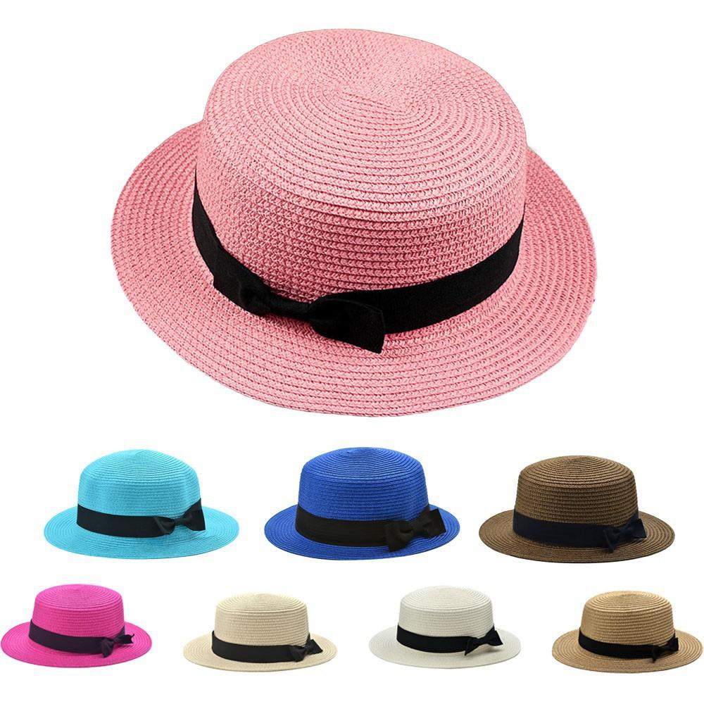8c5905047cce8 Charm Foldable Unisex Bowknot Round Flat Top Brim Straw Hat Summer Beach  Sun Cap
