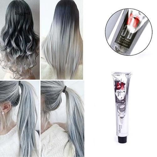 ☆BIG☆1Pc 100Ml Beauty Cool Light Gray Color Natural Permanent Super Hair Dye Cream