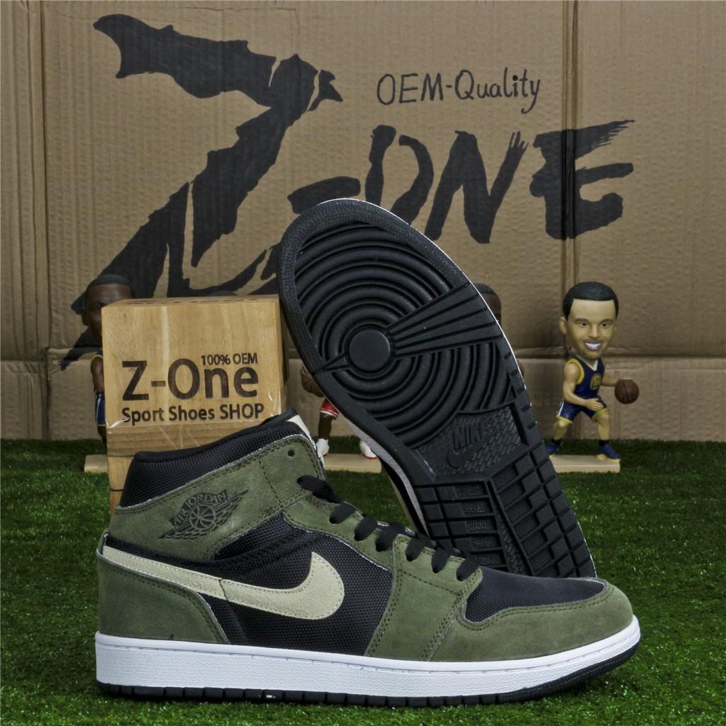 Nike AIR JORDAN 1 RETRO Basketball shoes FOR MEN Black/Army Green