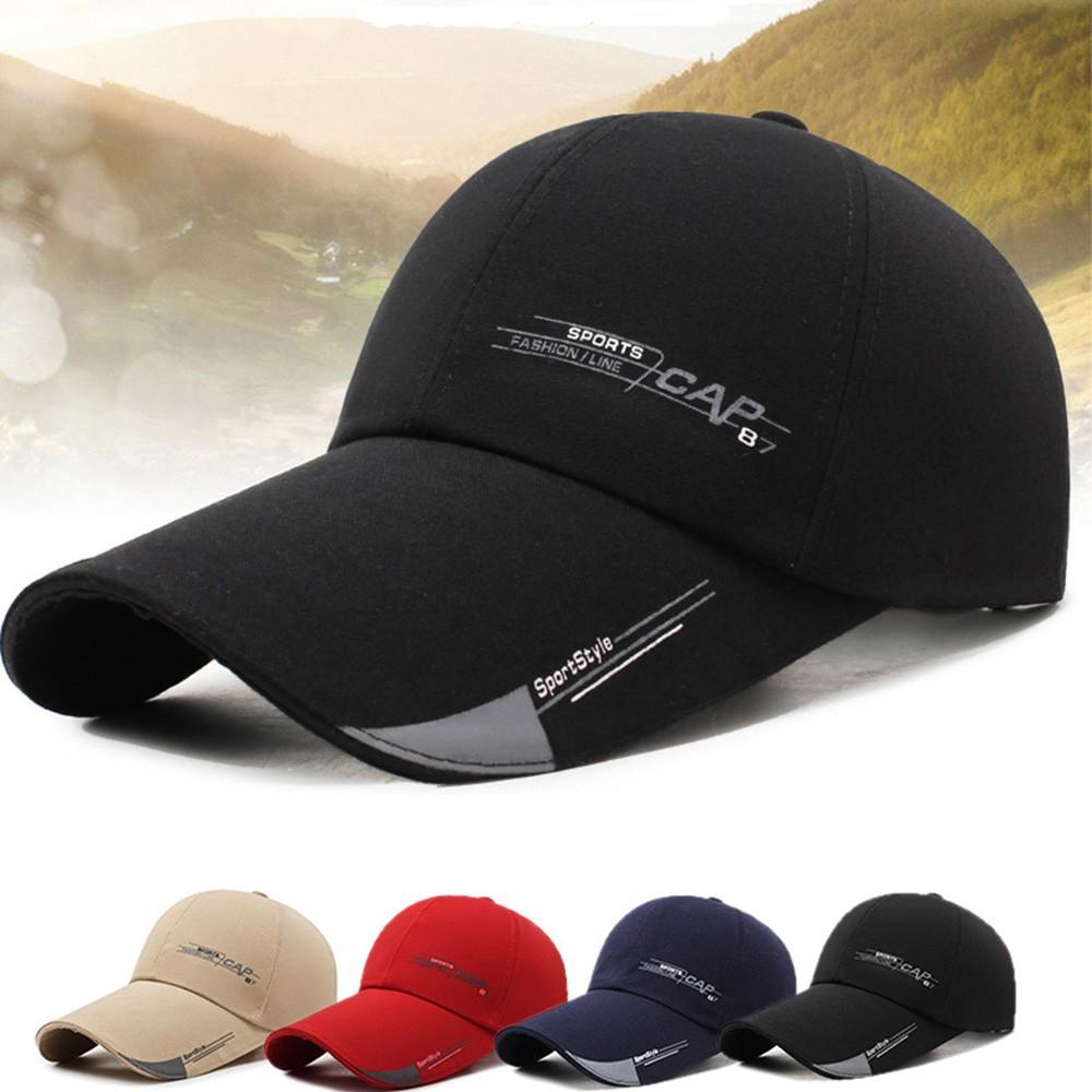 Sports Cap Men's Hat Fish Outdoor Fashion Line Baseball Cap Long Visor Side  Sun