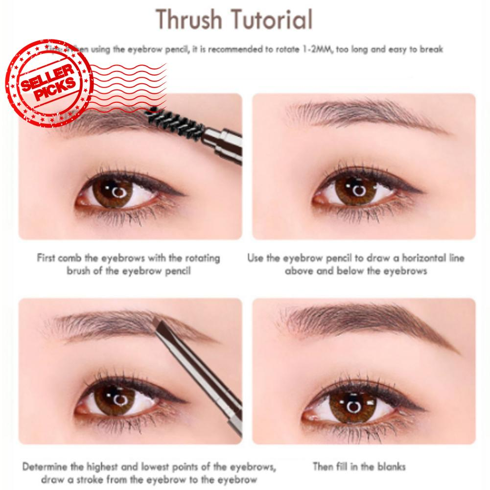Eyebrow Pencil With Brush Waterproof Rotating Automatic Triangle