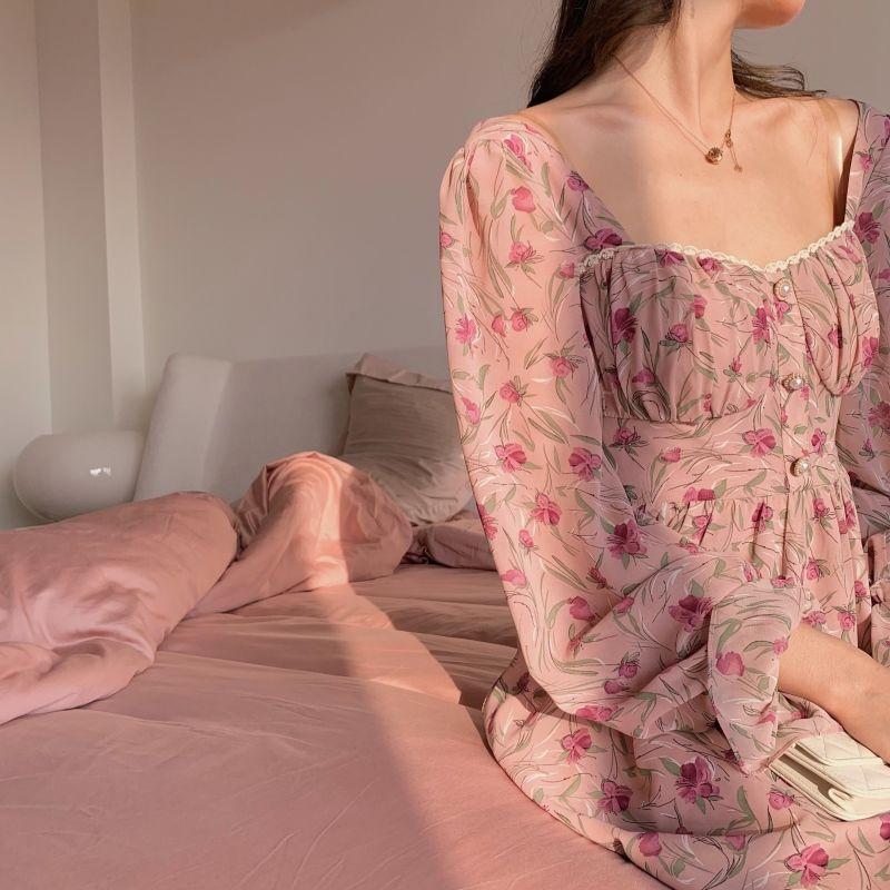 Vintage CUE Cowl Neck Sun Dress \u2013 Size 10-12 \u2013 30s Style Floral Frock/_ Pink Rayon Floral Print/_70s 80s