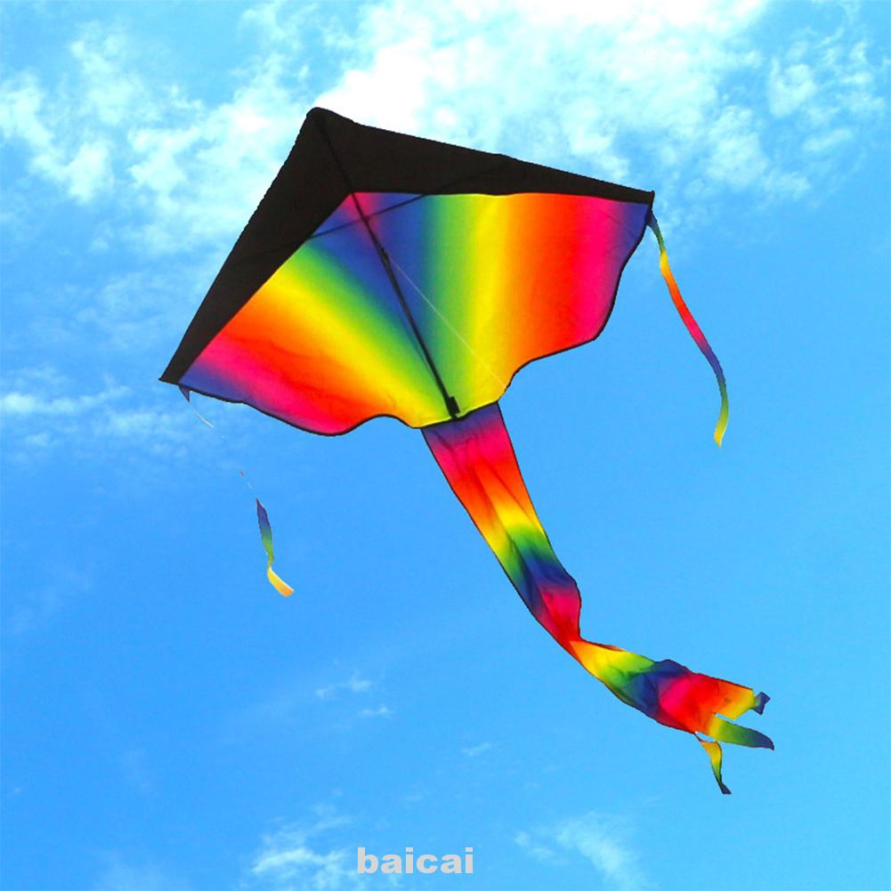 Kids Children Rainbow Long Tail Kite Outdoor Game Activities Fun Toy 95x160cm