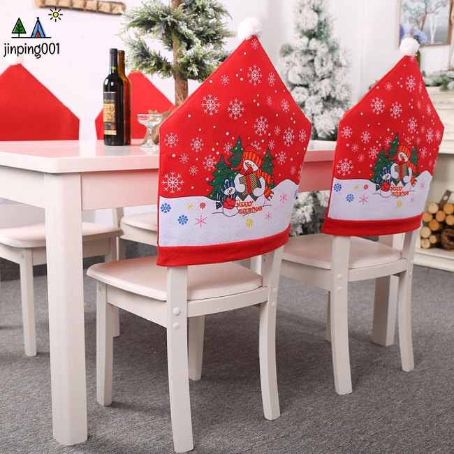 Christmas Chair Back Covers.Christmas Decoration Printing Santa Claus Snowman Snow Chair Back Cover