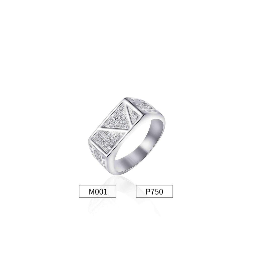Men S Crystal Flat Top Rings M001