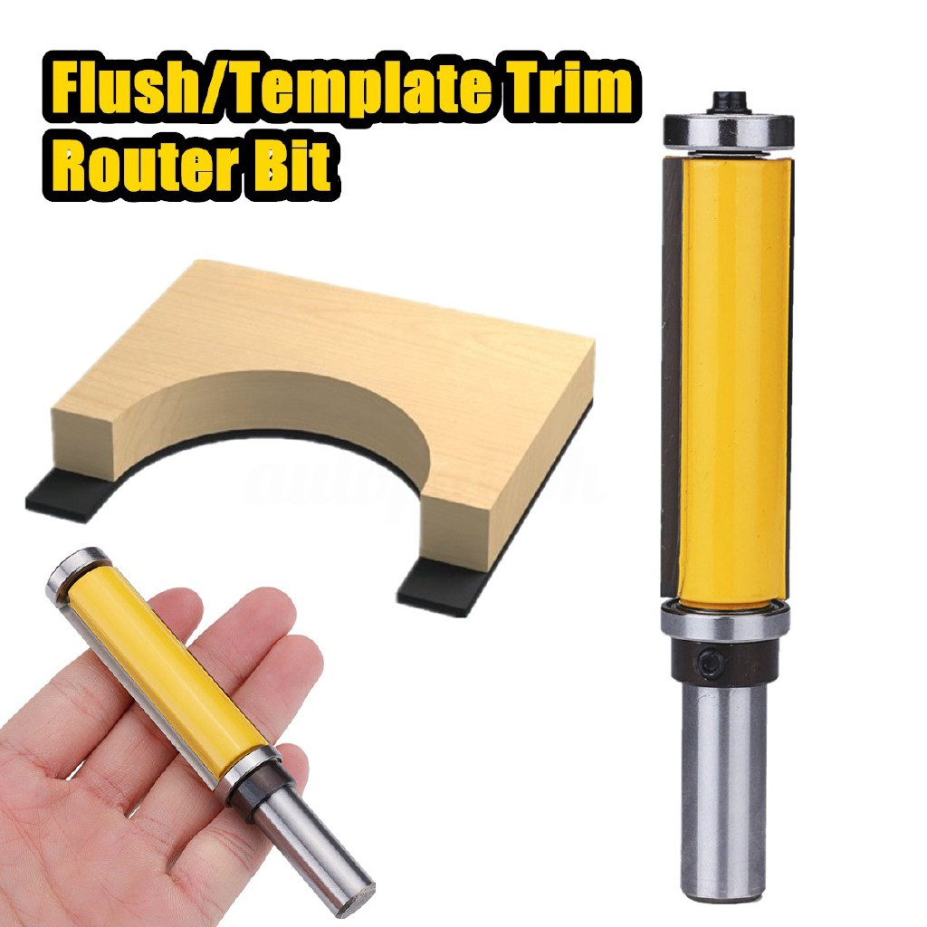 """2Pcs Flush//Template Trim Router Bit with 1//4-Inch Shank 2/"""" 2-1//2/"""" Long Blade"""
