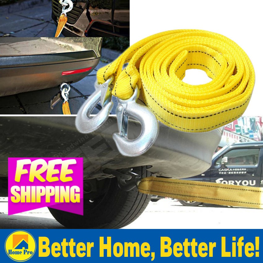 Hot 3m Car Vehicle Boat Tow Strap Towing Rope Hauling Cable String with