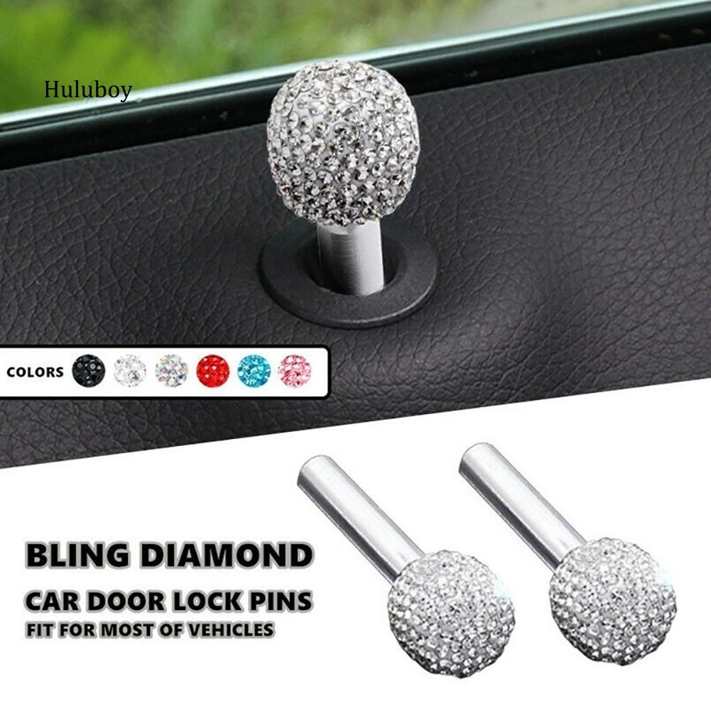 1 Pair Universal Fashion Bling Diamond Rhinestone Car Door Lock Pins Knob