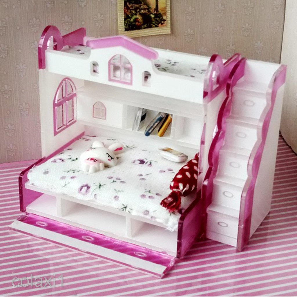 Picture of: 1 12 Dolls House Miniature Furniture Double Bunk Bed Children Bedroom Decor Shopee Philippines