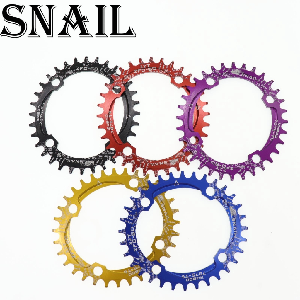 SNAIL BCD104 Single Narrow Wide Round Oval Chainring 32T 34T 36T Bolts