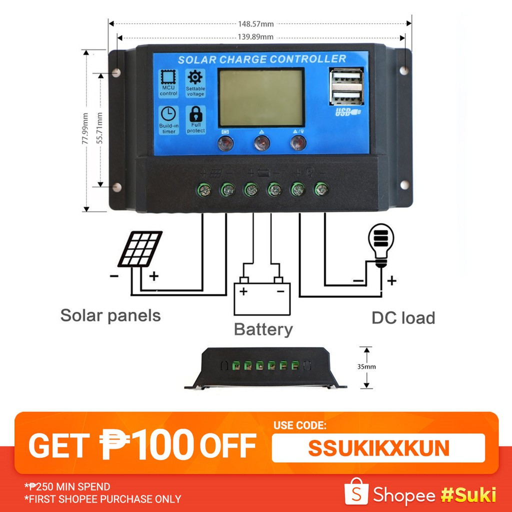 30A PWM 2USB Solar Panel Cell Regulator Charge Controller AP