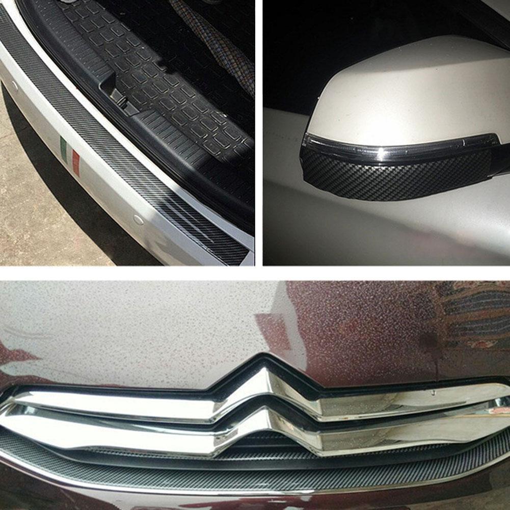 1m universal front bumper strip carbon fiber rubber car sticker protector fifi