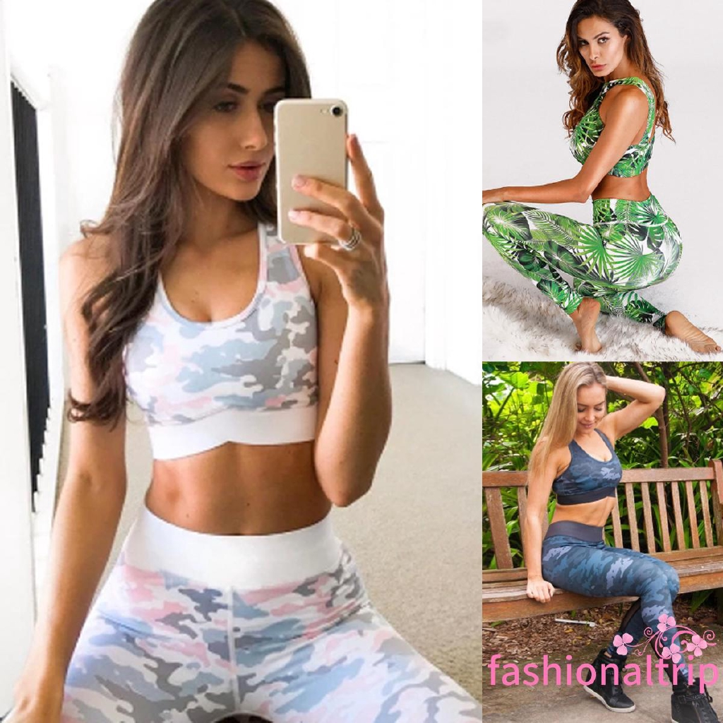 Womens Sport Gym Yoga 2 Pcs Vest Bra Sports Legging Pants suit Tops Outfit Set l