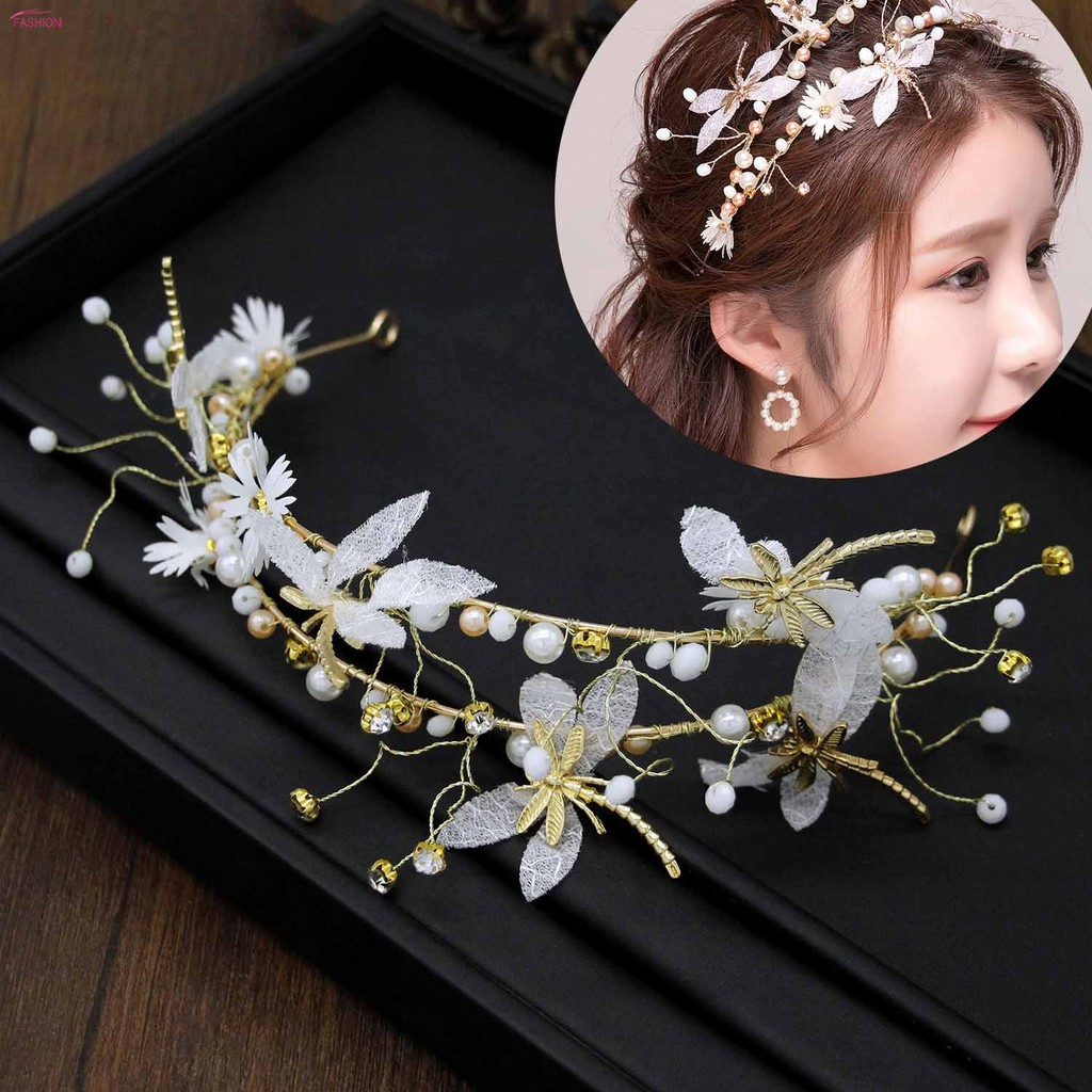 women tiara headband beads cloth flowers dragonfly crown wedding bridal hair accessories