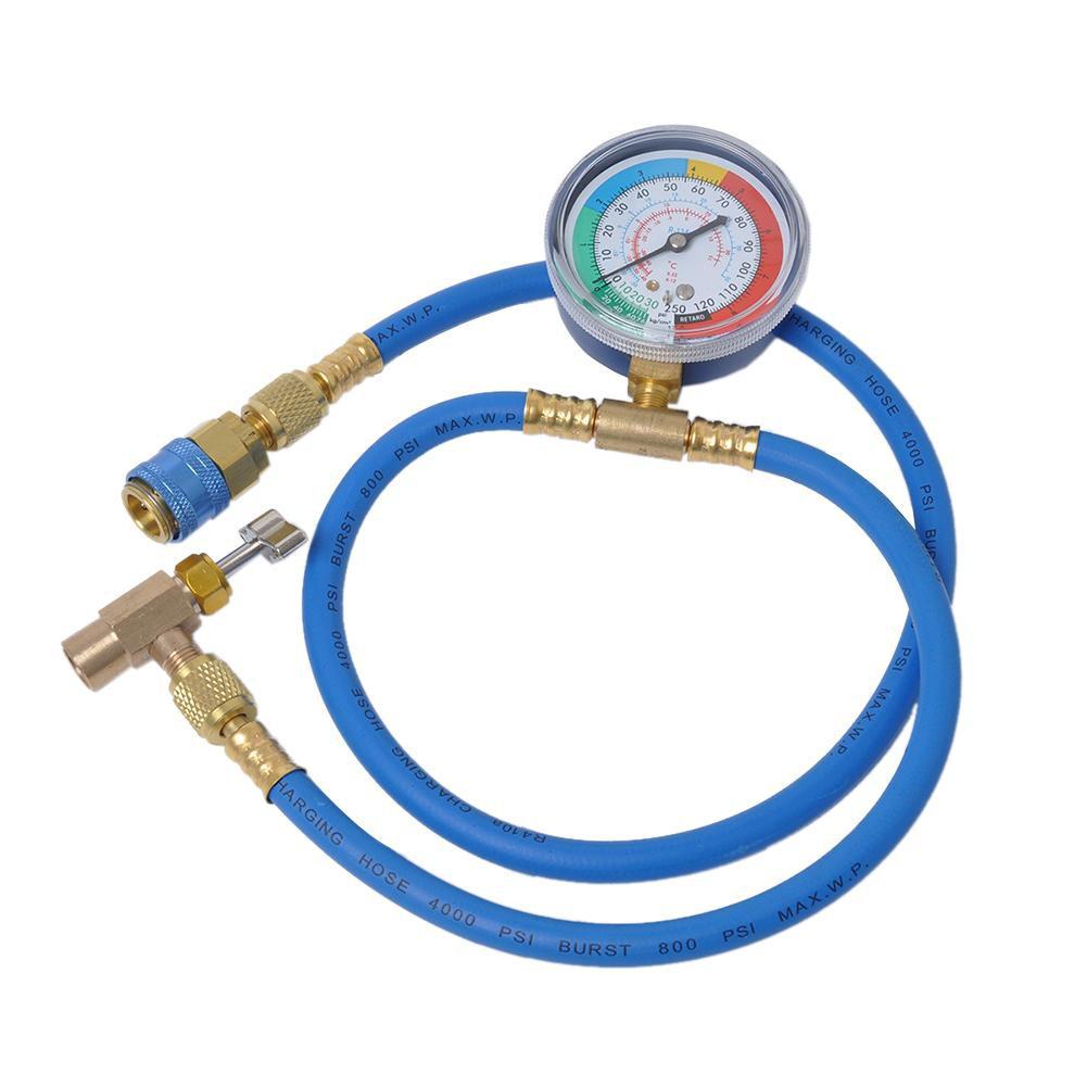 Car Air Conditioning Refrigerant Recharge Measuring Hose Gas Gauge R134A Car Kit