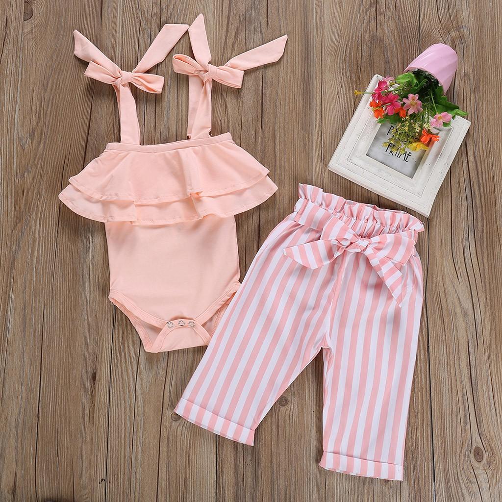 Newborn Baby Kids Girl Off-shoulder Romper Jumpsuit Stripe Cotton Clothes Outfit
