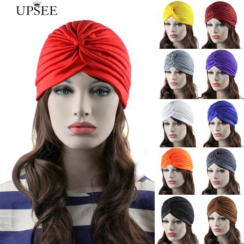 e58263c8 👒Lady hat👒Fashion Women Indian Style Stretchable Pleated Turban Hat Cap  Head Wrap Bandana | Shopee Philippines