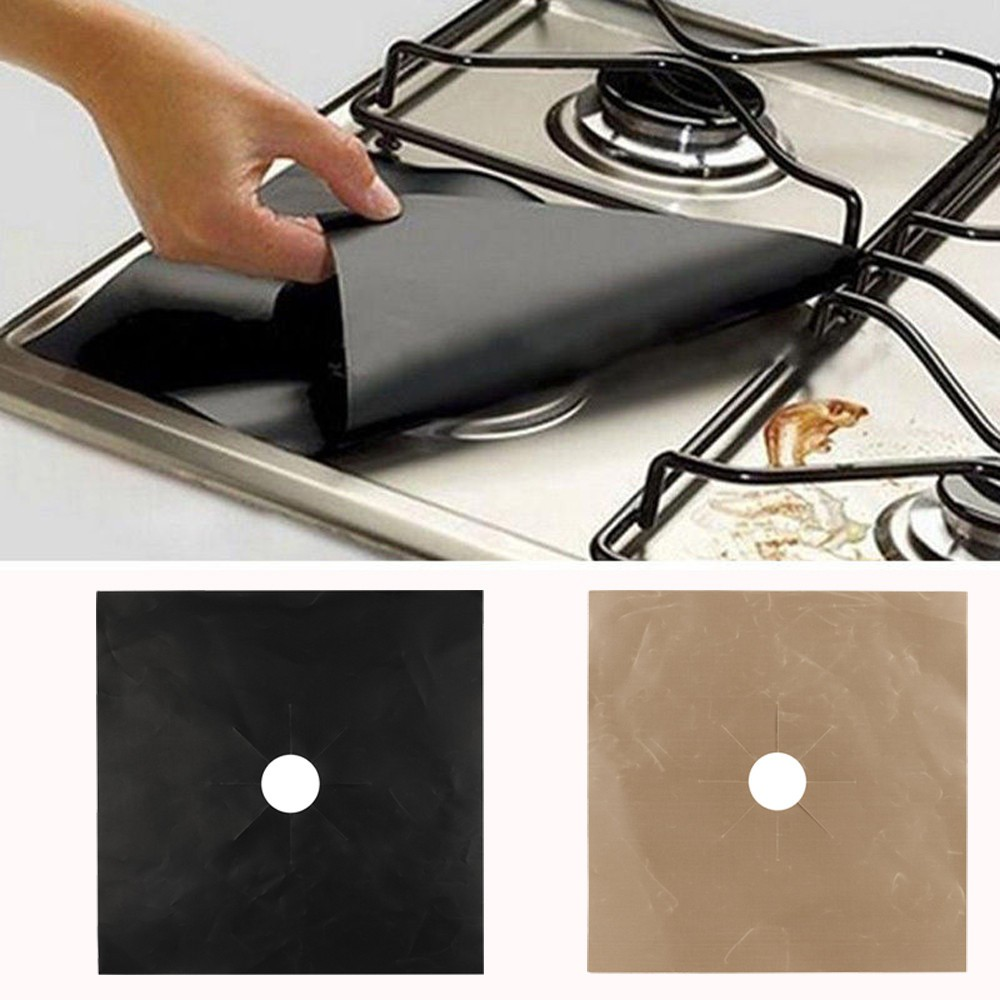 4 Hob Covers Stainless Steel Reusable Rings Cooker Oven Metal Cover Protectors