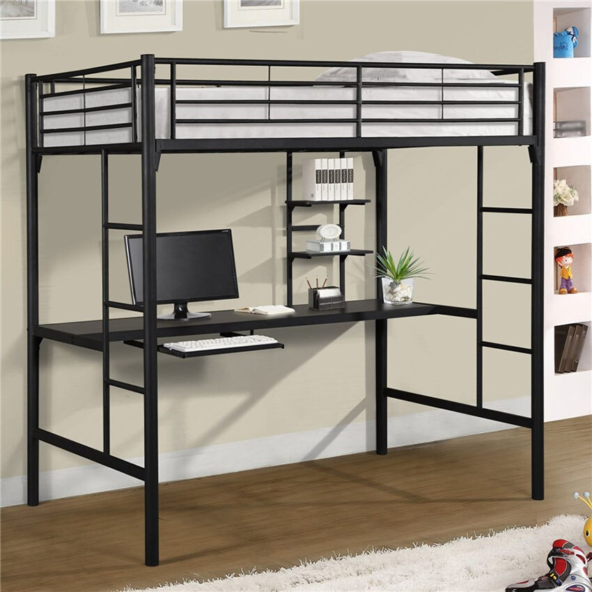 Space Saving Bunk Bed Student Dormitory, Student Loft Bed With Desk
