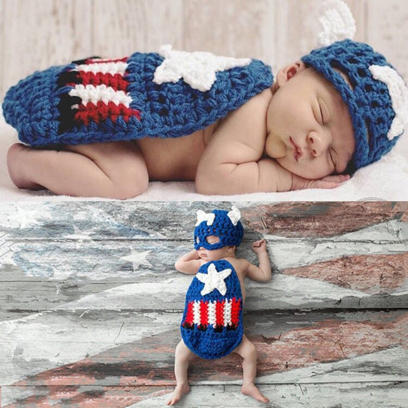 Newborn Baby Girls Boys Photo Photography Prop Costume Outfit Knit Clothing Sets
