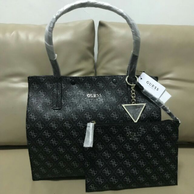 b6a0f7ee9e9 AUTHENTIC-IMPORTED GUESS KINLEY CARRYALL TOTE w  POUCH   Shopee Philippines