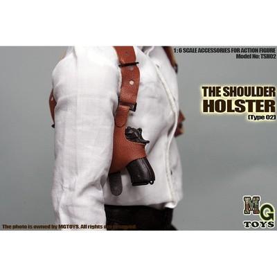 """1//6 MGToys Black Gun Pistol Shoulder Holster Gun Holder Strap Model F 12/"""" Figure"""