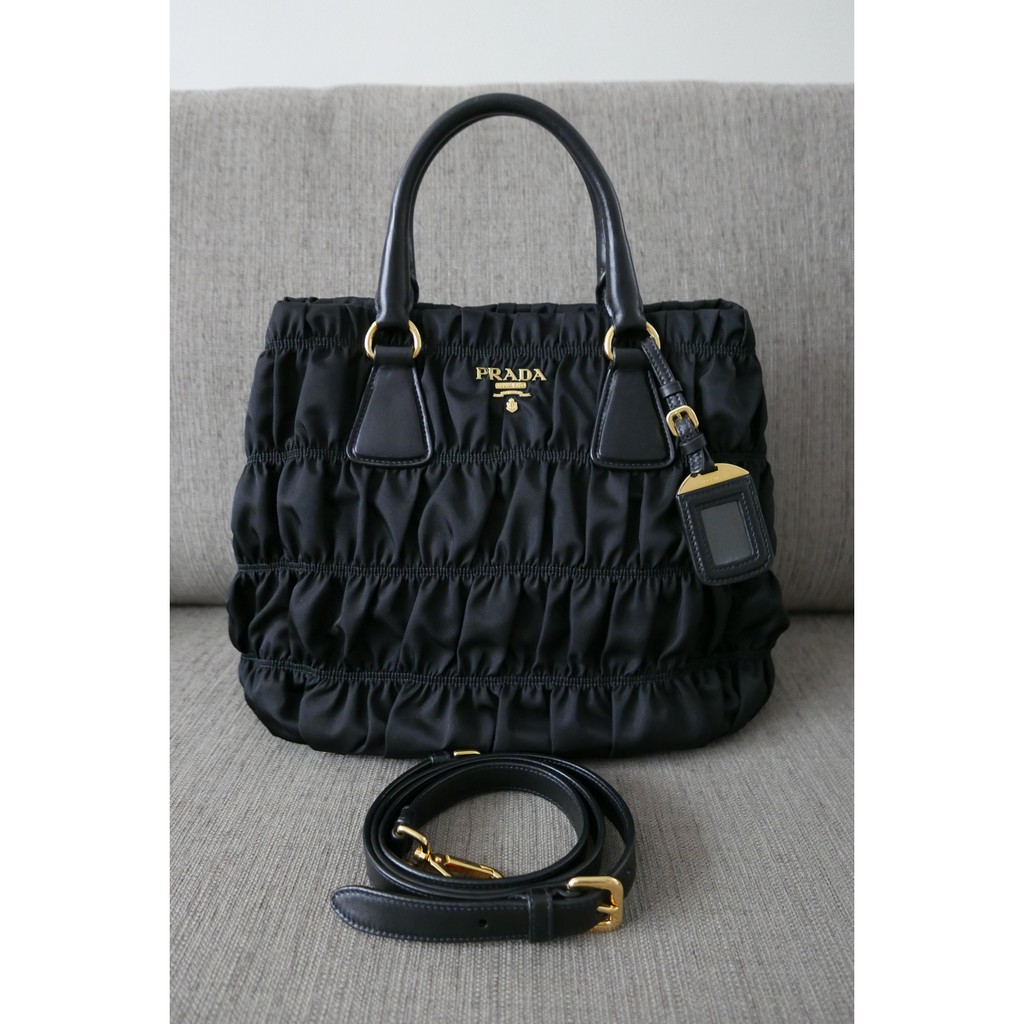 85baea89b906 Auth Prada Gaufre Tessuto Nylon Bag B1789M Black | Shopee Philippines