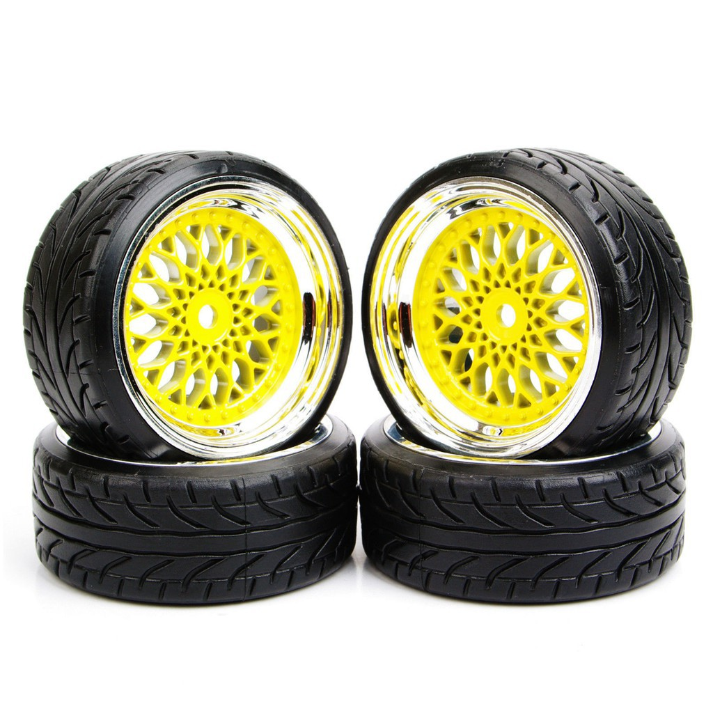 Mounted Drift Tires Tyre Wheel 4Pcs For HSP HPI 1//10 Scale RC On-Road Car 20022