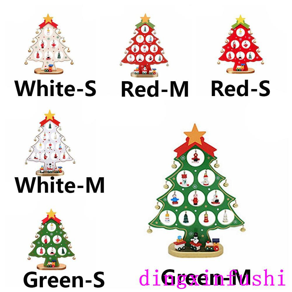 Mini Christmas Tree Ornaments.2019 Decorations Wooden Party Supplies Mini Christmas Tree