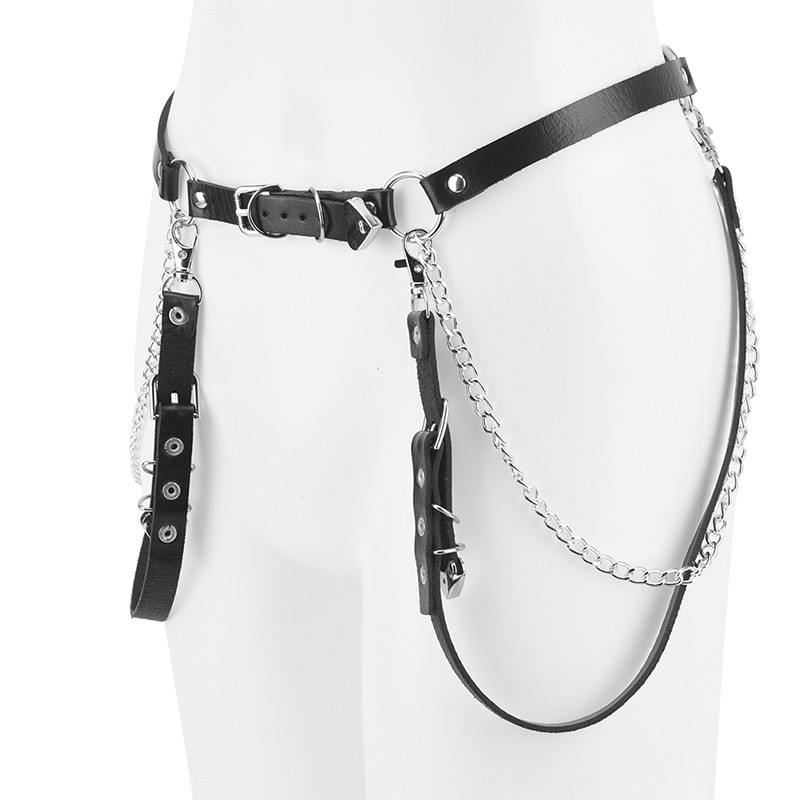 Lady Punk Faux Leather Belt Metal Waist Chain Gothic Strap GrungeStreet LuxuryPD