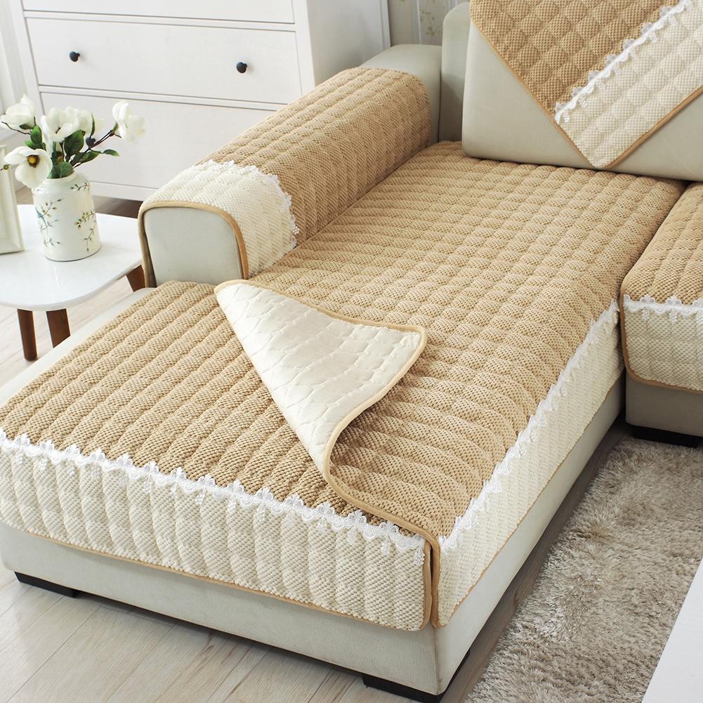 Plush Simple Sofa Cushion Yellow Plaid