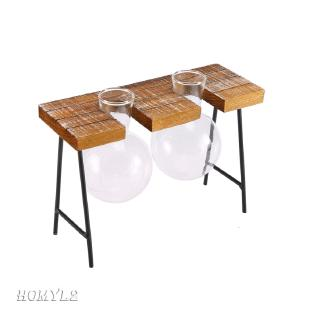 Wooden Stool Tray Hanging Clear Glass Flower Vase Micro Landscape Terrarium