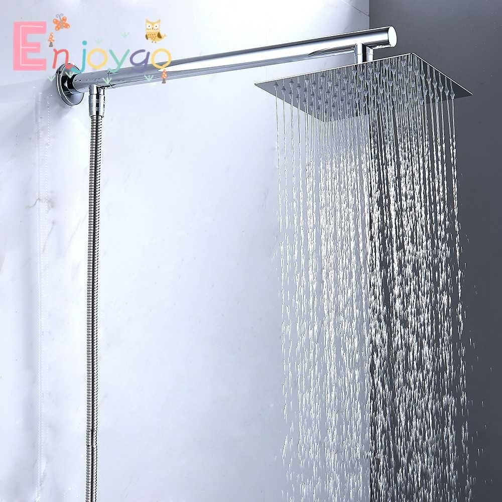 """16/"""" Extra Long Extension Arm Ceiling Water Shower Stainless Steel Wall Mounted"""