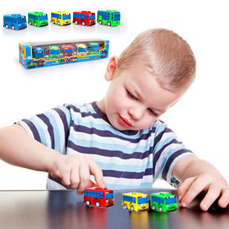 NEW TAYO the Little Bus 5 Cars Set Toy Children toys Kids Birthday Gift Wind UP