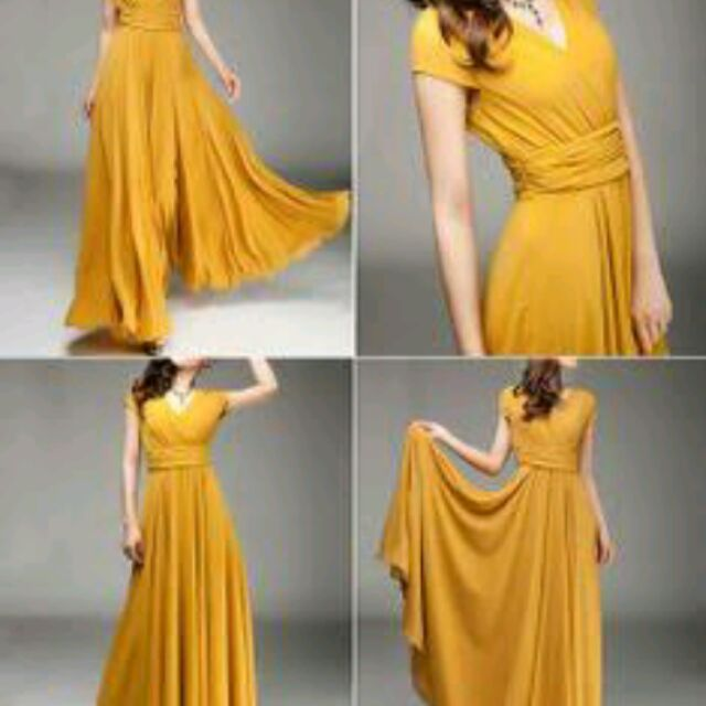 Mustard Infinity Dress | Shopee Philippines