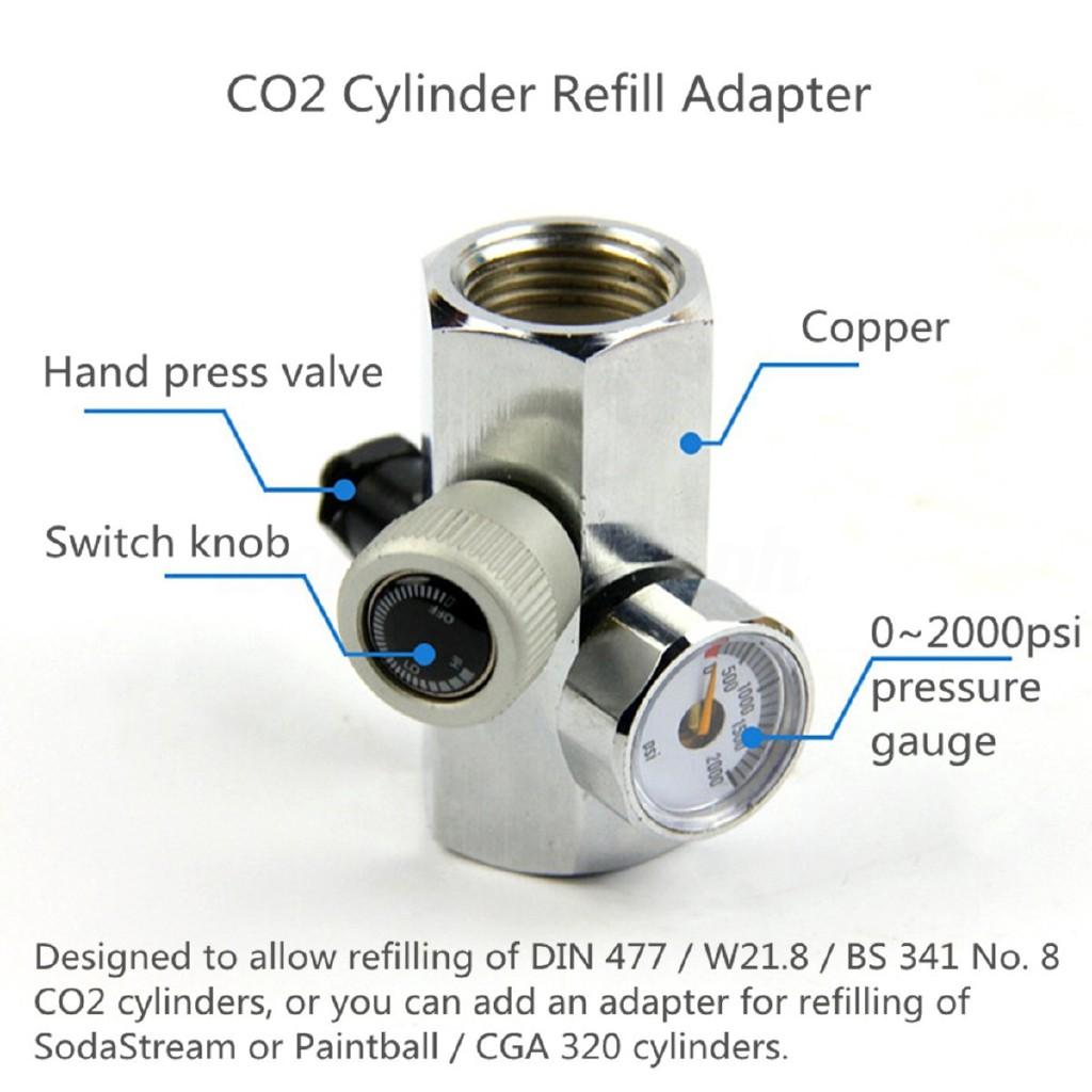 ღGB 0-2000PSI Homebrew CO2 Cylinder Refill Adapter Connector