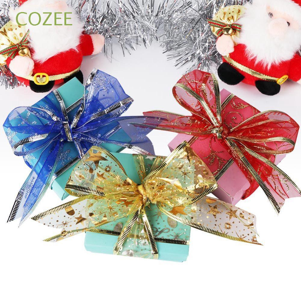 1 Pack 200cm Floral Printed Christmas Ribbon for Christmas Tree Gift Decoration