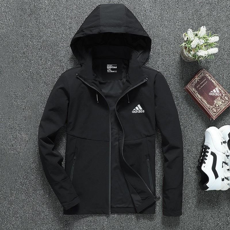 adidas trench coat windproof coat black and white jacket thi